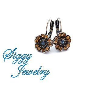 Swarovski Beige and Blue Flower Drop Earrings